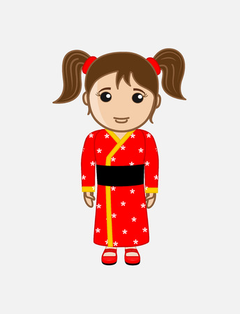 anime young: Japanese Girl in Kimono Dress