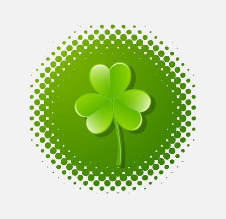 threeleaf: Clover Leaf Isolated on Halftone Illustration