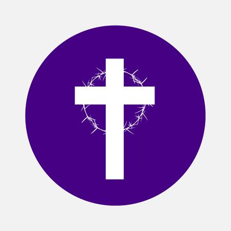 Thorns Couronne Isolé sur Christian Cross Symbole