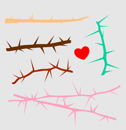 Thorns Wire and Branches Vector Elements Illustration