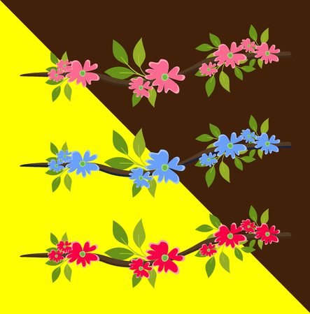Beautiful Flowers Branches Vector Illustration