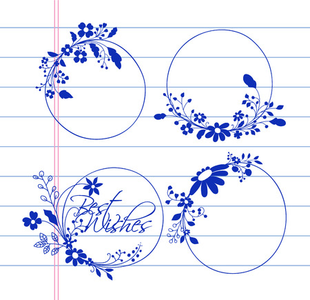 Doodle Art Floral Frame and Banners Vectors