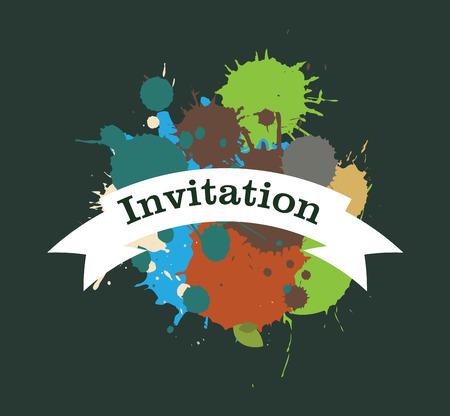 grunge banner: Grunge Color Drops Invitation Banner Illustration