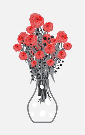 Rojo Ramo de Rosas en Florero