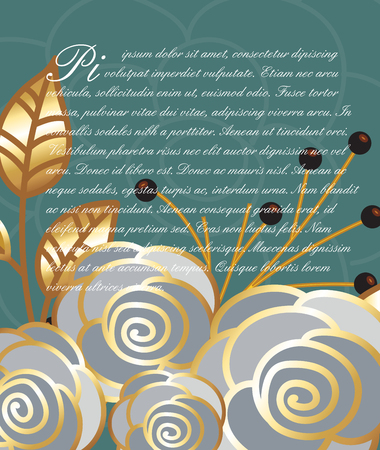 golden daisy: Decor Roses Valentine Template Illustration