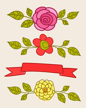 separators: Colored Floral Separators and Banner Illustration