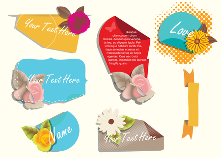 golden daisy: Romantic Flowers Stickers and Greeting Banners Illustration