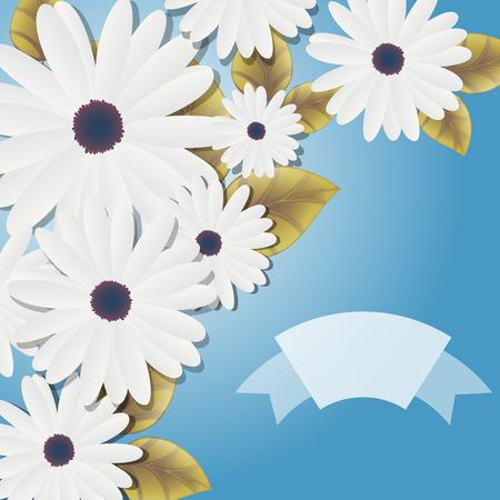 white daisies: Decorative White Daisies Background Illustration