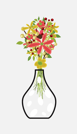 Bunch of Flowers with Pot Illustration