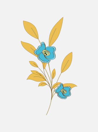 stamens: Vintage Flower Twig Vector