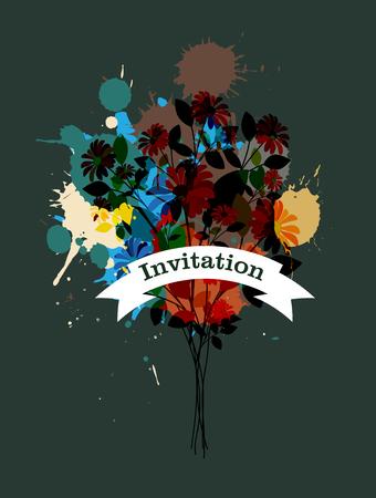 grunge banner: Grunge Flowers Invitation Banner
