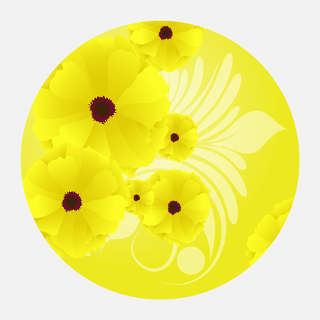 bright: Bright Yellow Floral Background Illustration