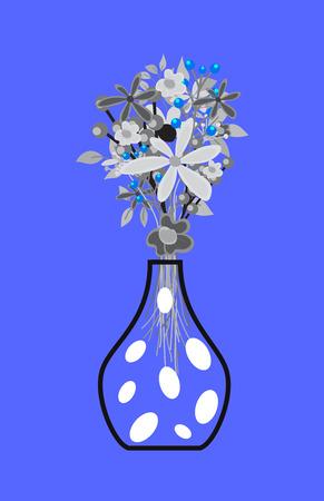 Vintage Flowers Bunch with Vase Illustration