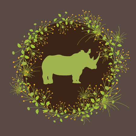 animals frame: Rhino with Beautiful Foliage Frame