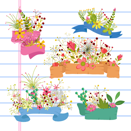 occasions: Flowers Banners for Occasions Illustration