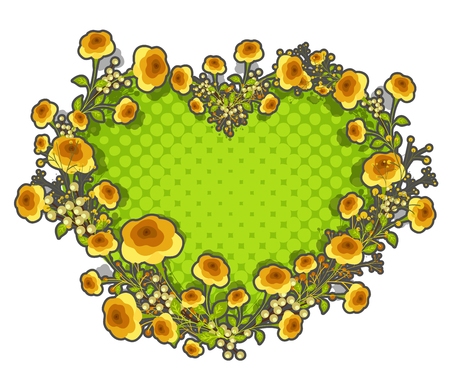 yellow roses: Yellow Roses Heart Frame for Valentine�s Day Illustration