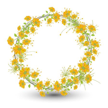 autumn flowers: Autumn Flowers Wreath Design Illustration