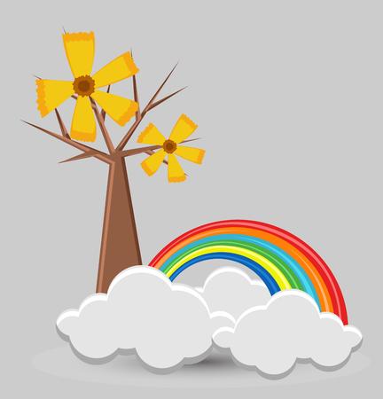 rainbow clouds: Flower Tree on Rainbow Clouds