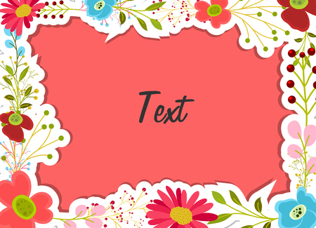 sticker vector: Comic Flowers Frame Sticker Vector