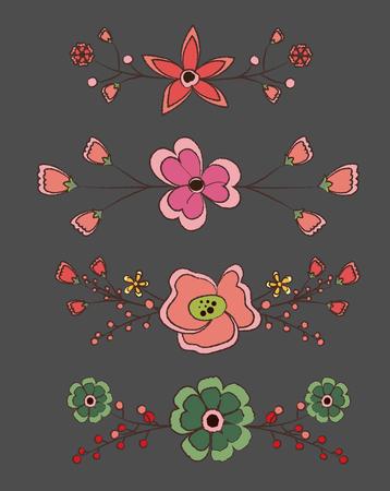 separators: Vintage Flowers Separators Vector