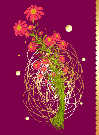 scribble: Bunch of Flowers Isolated on Scribble Background Illustration