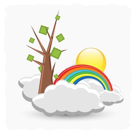 rainbow clouds: Summer Tree Over Rainbow Clouds Illustration