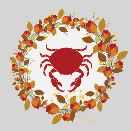 leafage: Crab in Flourish Wreath