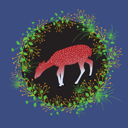 Deer with Beautiful Flourish Frame Illustration