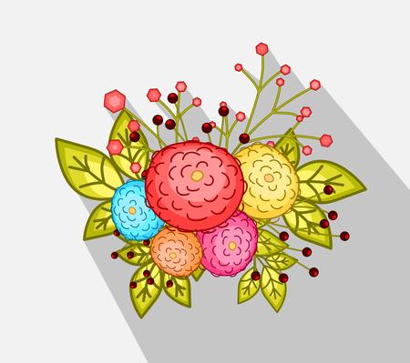 bunch: Decorative Flowers Bunch Illustration