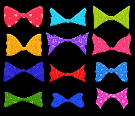 Colored Ribbon Bow Vector Set