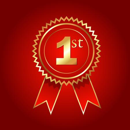no 1: No. 1 Golden Ribbon Badge Vector