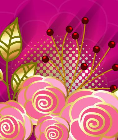 golden daisy: Romantic Golden Ornate Background Illustration