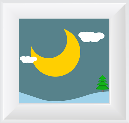 scenic: Dusk Moon Scenic Picture with Frame Illustration