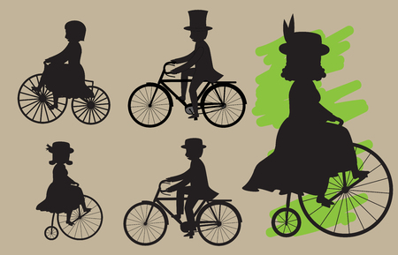 silhouettes: Cyclists Silhouettes