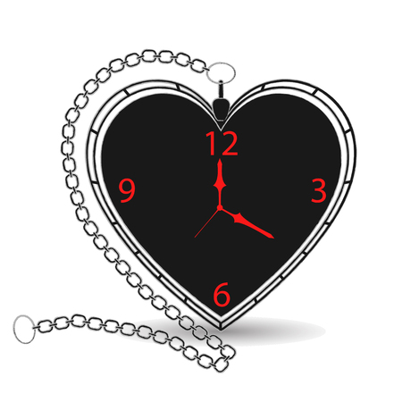 Antique Heart Shape Pocket Watch with Chain