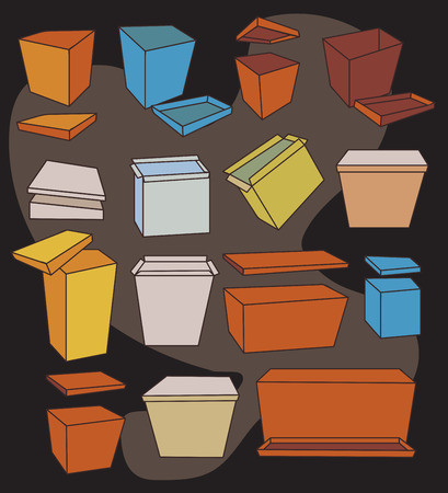 corrugated box: Collection of Colored Boxes Illustration