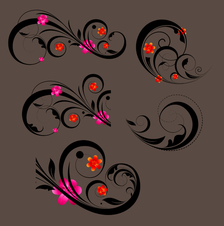 swirl: Swirl Flourish Elements Silhouettes Illustration