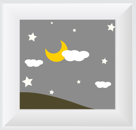 early in the evening: Night Scene Sky Photo Frame Illustration