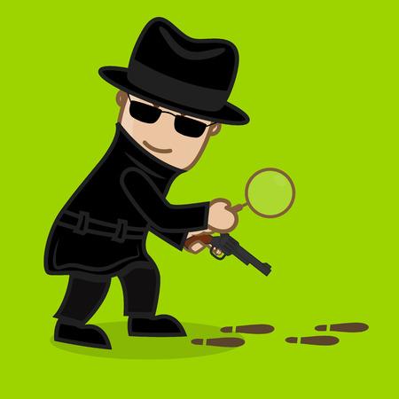 investigating: Detective Agent Investigating Footprints