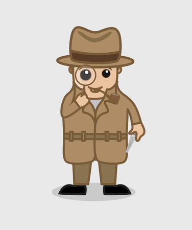 ci: Detective Agent Watching Through Magnifier Vector Illustration Illustration