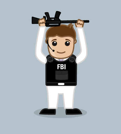 fbi: FBI Agent Holding a Rifle Over the Head Illustration