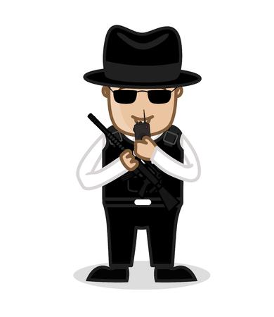 the fbi: FBI Agent Talking on Walkie Talkie and Holding a Gun