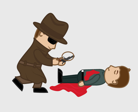 clue: Detective Agent Searching Clue in Gun Illustration