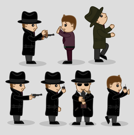 ci: FBI Officers Various Action and Poses Illustration