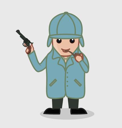 CSI Investigator Smoking Cigar and Holding a Gun Illustration