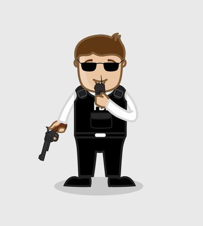 FBI Agent with Gun and Talking on Walkie Talkie