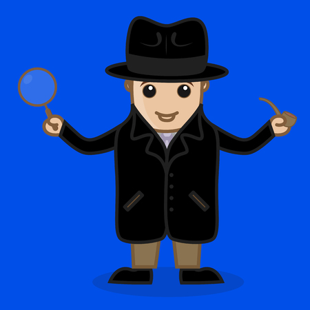 Detective Agent Holding a Magnifier and Cigar Illustration