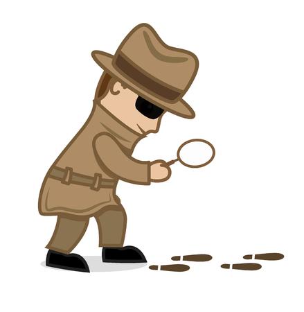 criminal: Detective Agent Following Criminal Footprints Illustration