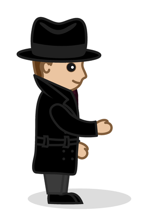 fbi: Cartoon Detective Raising Hand Illustration