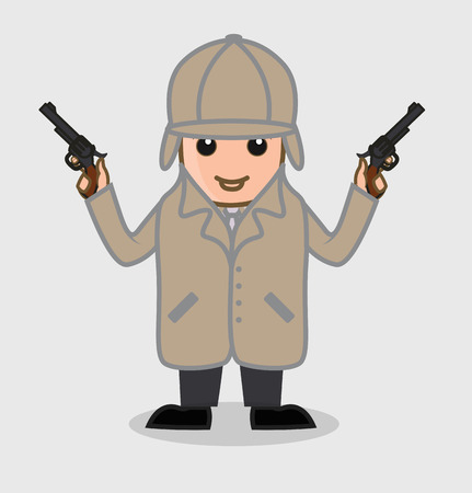 Detective Agent Holding Guns in Both Hands
